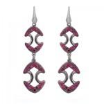 red ruby long earrings